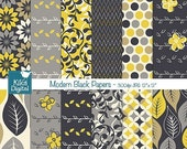 60%OFF Black and Yellow Digital Papers, Modern Black Scrapbooking Papers, Black, Yellow and Grey Papers - INSTANT DOWNLOAD