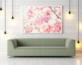 Large art, Nature photography, Cherry blossom art, spring decor, large wall art, pink, girl nursery decor, office decor, flower print, white
