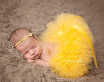 NEWBORN TUTU Set, Yellow Tutu and Headband, Newborn Tutu, Baby Tutu, Yellow Tutu, Newborn Photo Prop, Photo Prop, Tutus for Children, Spring