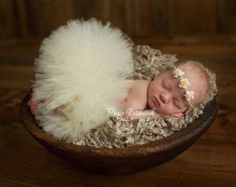 IVORY TUTU and Tieback, Newborn Tutu, Baby Tutu, Ivory Tutus, Newborn Photo Prop, Photo Prop, Tutus for Children, Tutu Set, Ivory Tutu Set