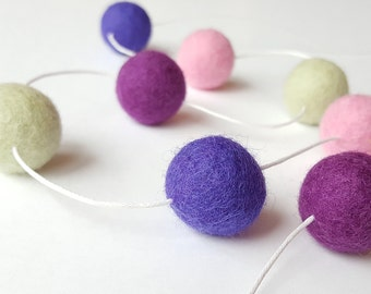 Purple garland, Pompom garland, felt ball garland, mantel garland, fall garland, felt ball banner, classroom decor,
