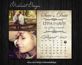 Save The Date Magnet, Card or Postcard . Rustic Vintage Calendar