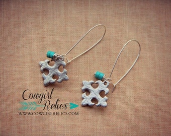 Creede Cross Rustic Western Earrings, Western Chic, Turquoise Magnesite, Silver Pewter