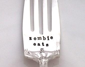 Hand Stamped Dinner Fork Silverware - zombie eats - SHAKESPEAR 1924 - Ready To Ship - Halloween, Zombies, Skulls & Crossbones