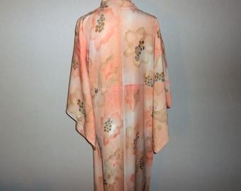 Vintage kimono - Floral, Soft salmon pink
