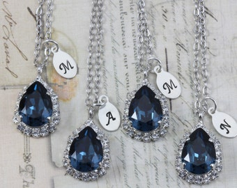 Navy Bridesmaid Necklaces Set of 3 4 5 6 7 8 9 10 Navy Blue Bridal Party Jewelry Gift Initial Necklace Custom Box Pear Swarovski Crystal