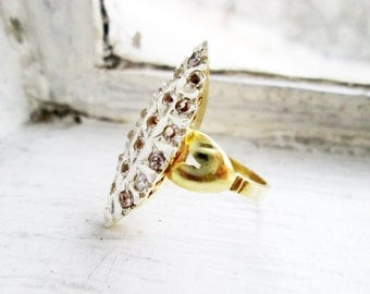 RESERVED- Vintage Lasadera Navette Shaped Ring Silver in Gold Plated finish with Cubic Zirconia (US Ring Size 5.5)