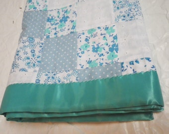 Large Baby Blanket Teal Flowers and Blue Patchwork with Satin Edging Reversible Gift Baby Shower Nursery Lap Blanket Photo Prop Christmas