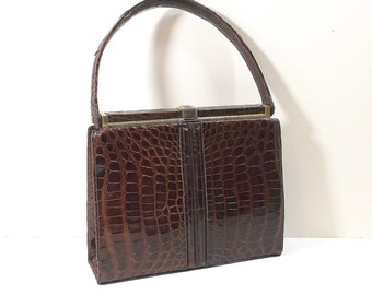 "LUCILLE de PARIS ""Croco Sauvage"" Leather Handbag"