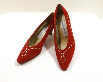 EVAN - PICONE Red Suede Leather Pumps Size 7B 7M
