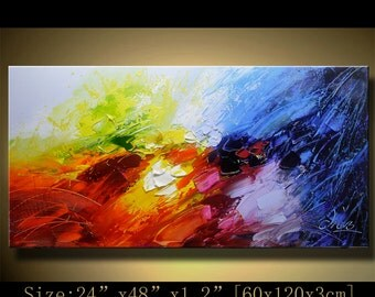contemporary wall art, Modern Landscape Painting,textured impasto palette knife painting, Home Decor,Textured Painting on Canvas by Chen mm2
