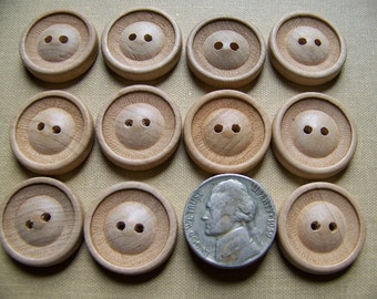 Set of 12 Vintage Natural Wood Buttons