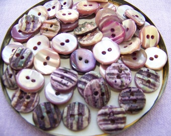 """Set of 48 Lavender Shell Buttons 1/2"""""""