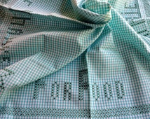 "Vintage 32"" x 32"" Aqua Green Gingham Tablecloth Cross Stitch Embroidery Chicken Scratch Food Friends Thanks Checkered Table Cloth Runner"