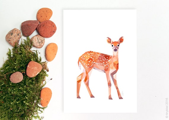 Deer Baby deer illustration Fawn Geometric print by ...
