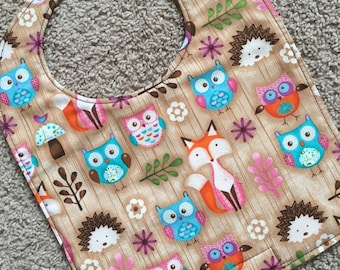 TODDLER BIB: Owls and Forest Animals on Wood, Personalization Available