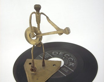 Mid Century Metal Sculpture Guitar Player Nail Art Figure