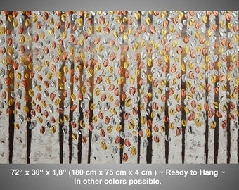 Large Painting on Canvas Art Paintings Acrylic Painting Wall Art Birch Trees Gold Silver Copper Metallic 72 x 30 Made to Order by ilonka