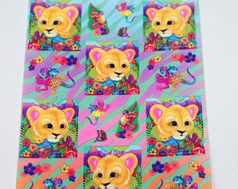 Vintage Lisa Frank Baby Lion Cub Sticker Sheet