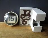 Vintage clock-scotch & perpetual calendar, Plastic, Office, Bureau, 1970, Calendrier Horloge, Antique home decor, Retro, France
