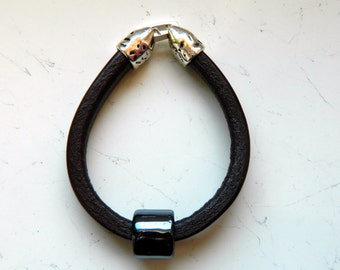 Brown Leather Black Ceramic Bead Bracelet - Inspired by Shadowhunters