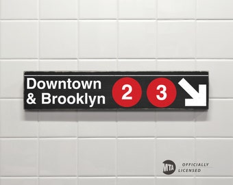 Downtown & Brooklyn 2-3 - New York City Subway Sign - Replica Sign