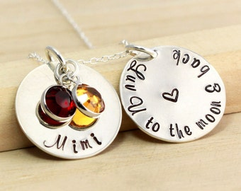 Mimi Necklace - Love You to the Moon and Back - Personalized Mother/Grandmother's Necklace - Mother's Day Gift - Gift for Mom-Mommy Jewelry