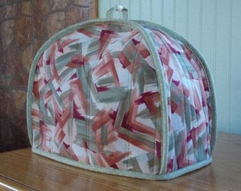 Handmade quilted toaster cover 2 slice shades of sage green, beige, taupe, rust, maroon, kitchen appliance, housewares, contemporary, dots