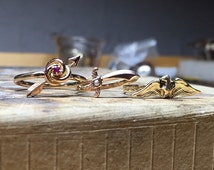 Stickpin Conversion Ring - Seed Pearl and 10k 14k Gold Scimitar Sword Ring