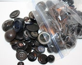 Vintage Lot of 240 Black, Dark Colored Buttons, Buttons Vary In Shape and Size, Round and Shank Buttons-Great For Sewing Crafts, Supplies