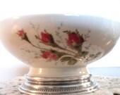 Rosenthal MOSS ROSE Candy Bowl w/ Sterling Base, Trinket Dish bowl