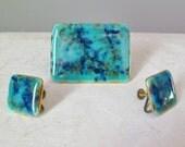 Blue enamel pin and earri...