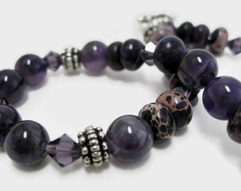 Amethyst Bracelet beaded imperial jasper semiprecious gemstone beadwork Swarovski tanzanite crystal February birthstone