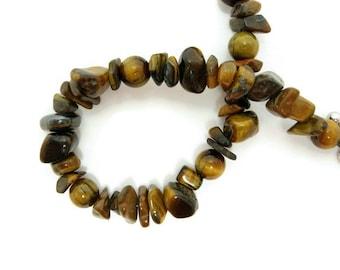 Tiger Eye Bracelet beaded handmade gold semiprecious gemstone chip beadwork antiqued silver toggle