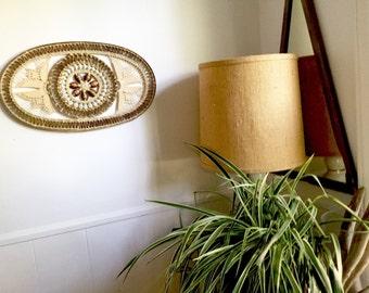 Awesome Vintage Woven Shell Eye Wall Art