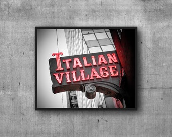"Chicago Photography Print ""Italian Village"" vintage sign photo"