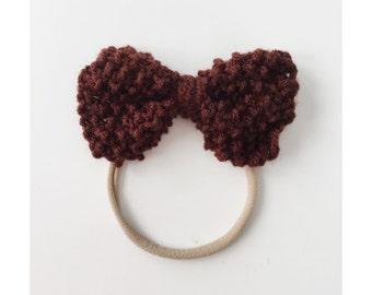 Knit Bow on Elastic band for Babies, Brown Knit Bow Headband,  Bow Baby Head Band, Newborn Knit Headband