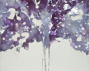 Tree ART Original Art by UK artist Caroline Ashwood - Textured and contemporary abstract painting on canvas - Free Shipping