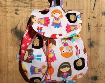 Girl Super Hero Back Pack/ Toddler Super Hero Back Pack/Super Hero/Preschool Back Pack/Small Back Pack