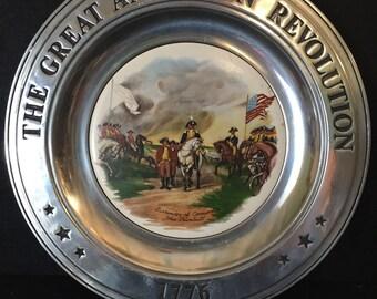 Vintage Plate Great American Revolution 1776 Pewter Porcelain Surrender of Cornwallis History Collectible Patriotic