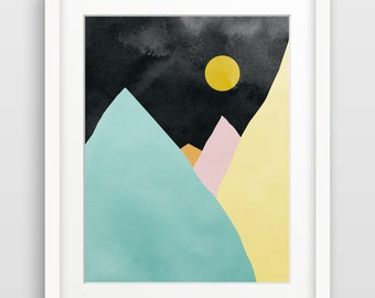 Mountain Art, Geometric Print, Modern Abstract Wall Art, Abstract Watercolor, Minimal Art, Abstract Landscape