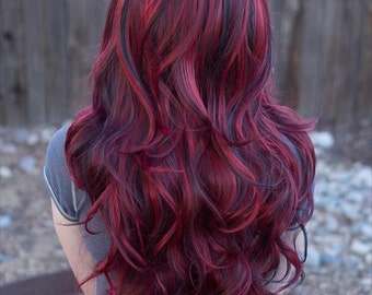 Lucy // Fiery Red Long Wavy Wig with Lowlights, Synthetic Hair