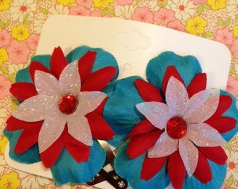 Red, white and blue hair flower clips