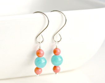 Pink Bamboo Coral and Turquoise Quartzite Sterling Silver Dangle Earrings / Silver Earrings / Spring Summer Jewelry / E116