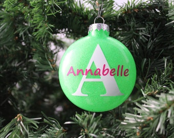 Neon Green Glitter Personalized Glass Ornament