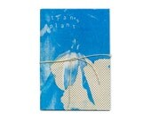 Transplant Zine two colour riso print blue and flat gold on newspaper stock