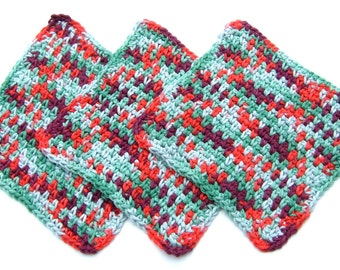 Dishcloths - Washcloths - Green Red and Wine - Crochet- SOFT Cotton- Set of 3