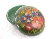 Russian Khokhloma Lidded Bowl Round Box 1967 USSR Signed Green Floral Hand Painted Jewelry Box
