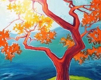 The Blue Beyond, 16 x 20 acrylic painting on canvas, ethereal nature art, sunlit brightly colored tree painting