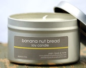 Banana Nut Bread Soy Candle Tin 8 oz. - banana candle - bakery candle - food candle - banana bread candle - fall candle